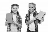 Children Cute Girls Hold Notepads Or Diaries Isolated On White Background. Note Secrets Down In Your poster