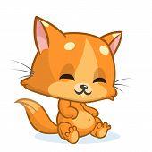 Cartoon Ginger Cat. Cute Orange Stripped Cat Illustration. Vector poster
