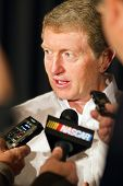 CONCORD, NC - JAN. 26:  NASCAR Sprint Cup champion, Bill Elliott takes questions from the media duri