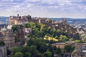 Edinburgh Castle with Cityscape from Calton Hill, Edinburgh, Scotland UK poster