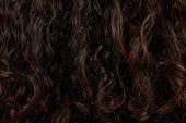 Dark Curly Hair Closeup. Latina Curly Hair Texture poster