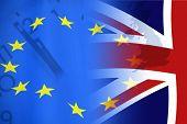 European Union And British Union Flag , Uk Brexit, European Union Broken poster