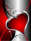 Un fondo de San Valentín con corazones de plata sobre un fondo rojo oscuro y negro con espacio para texto