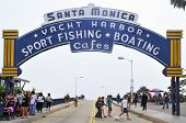 SANTA MONICA, USA - OCTOBER 15: Famous entrance sign to Santa Monica Pier on October 15, 2011 in San