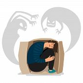 Scary Depressed Monsters And Sad Girl Vector Illustration. Character Imagination, Frightened Childho poster