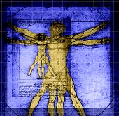 Vitruvian Man - abstract DaVinci work with grid lines, shading. This is an abstract image with purpo