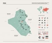 Vector Map Of Iraq.  High Detailed Country Map With Division, Cities And Capital Baghdad. Political  poster