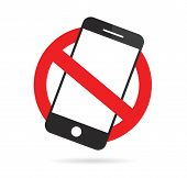 No Cell Phone Sign. Mobile Phone Prohibited. Vector Illustration. poster
