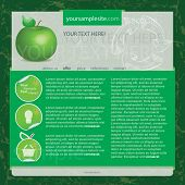 Web template with green apple, vector
