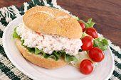 Seafood Salad Sandwich On A Hard Roll.