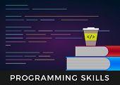 Programming Skills - Code Learning Or Coding Learn Flat Design Concept. Program Source Development C poster