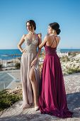 Two Sisters In Elegant Evening Dress.  Girls With Long Healthy And Shiny Hair. Beautiful Young Woman poster