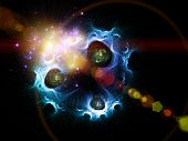 stock photo of big-bang  - Interplay of fractal meshes colors quantum formulas and lights on the subject of quantum physics Universe Creation Big Bang science and technology - JPG