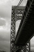 Washington Bridge on a dark cloudy autumn day
