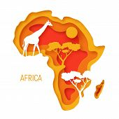 Africa. Decorative 3d Paper Cut Map Of Africa Continent With Wild Animals Silhouettes. 3d Paper Cut  poster