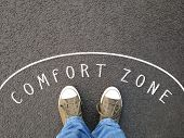 Feet In Canvas Shoes Standing Inside Comfort Zone - Foot Selfie From Personal Perspective - Chalk Te poster