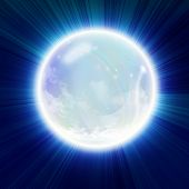 picture of witch ball  - Crystal ball on a glowing blue background - JPG