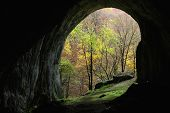 stock photo of mystique  - Cave entrance photographed from inside the cave - JPG