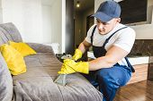 Cleaning Service With Professional Equipment During Work. Professional Kitchenette Cleaning, Sofa Dr poster