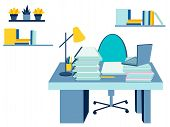 Interior Workplace. In Minimalist Style. Cartoon Flat Illustration. In Minimalist Style. Cartoon Fla poster
