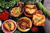Assorted Chinese Food Set. Chinese Noodles, Fried Rice, Peking Duck, Dim Sum, Spring Rolls. Famous C poster