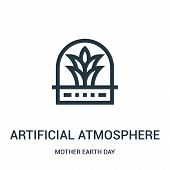 Artificial Atmosphere Icon Isolated On White Background From Mother Earth Day Collection. Artificial poster