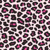 Leopard Print. Vector Seamless Pattern. Fashionable Background With Black And Magenta Spots On Light poster