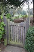 Old wooden gate in garden at Eltham Palace