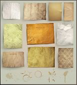 Scrapbooking set. old paper textures: different aged paper elements for your layouts