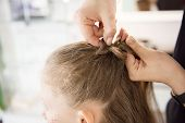 Hairdresser Weaving Plaits In Beauty Salon. Hairdressing Services. Сreating  Hairstyle. Hair Styling poster