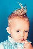 Having A Modern Haircut. Boy Child With Stylish Blond Hair. Small Child With Messy Top Haircut. Smal poster