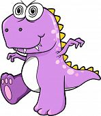 Crazy Insane Purple Dinosaur T-Rex Vector Illustration Art