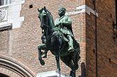 Bronze statue. City Hall. Ferrara. Emilia-Romagna. Italy.