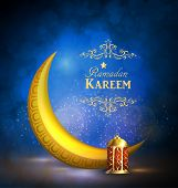 Ramadan Kareem Greetings With Colorful Golden Lantern Or Fanous With Golden Moon In A Dark Glowing B poster