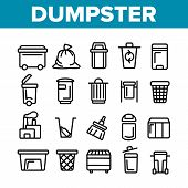 Dumpster, Garbage Container Thin Line Icons Set. Dumpster, Trash Collecting Equipment Linear Illustr poster