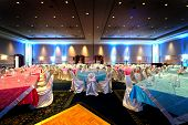 stock photo of indian wedding  - Image of a beautifully set Indian wedding reception room - JPG