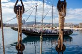 Boat Moorings Rope, Rope Pulley And Big Traditional Spanish Sailboat poster
