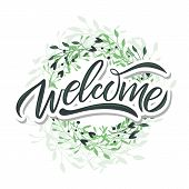Hand Sketched Welcome Lettering Typography. Drawn Art Sign. poster