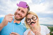 Photo Booth Props. Man With Beard And Woman Having Fun Party. Add Some Fun. Making Funny Photos Birt poster