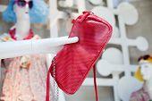 Red Leather Shoulder Handbag