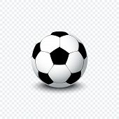 Soccer Ball. Realistic Football Ball Or Soccer Ball With Shadow On Transparent Background. Football  poster