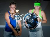 MELBOURNE - JANUARY 28: Victoria Azarenka (L) of Belarus in her championship win over Maria Sharapov