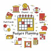 Vector Linear Concept Of Finance, Banking And Accounting Budget Planning. Color Icon Of Wall Calenda poster