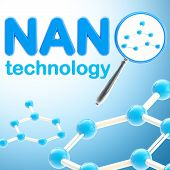 foto of nano  - Nano technology blue glossy background made of magnifier and molecule - JPG