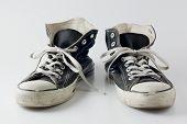 Black color vintage sneakers.