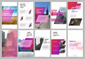 Creative Social Networks Stories Design, Vertical Banner Or Flyer Templates With Pink Colored Colorf poster