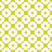 Simple Minimalist Floral Texture. Vector Geometric Seamless Pattern With Small Flowers, Circles, Cro poster