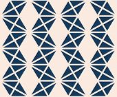 Triangles Seamless Pattern. Vector Abstract Geometric Texture In Deep Blue And Beige Color. Simple G poster