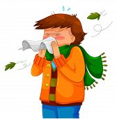 image of hay fever  - person blowing his nose in a chilly weather - JPG
