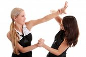 stock photo of disadvantage  - Two women fighting - JPG